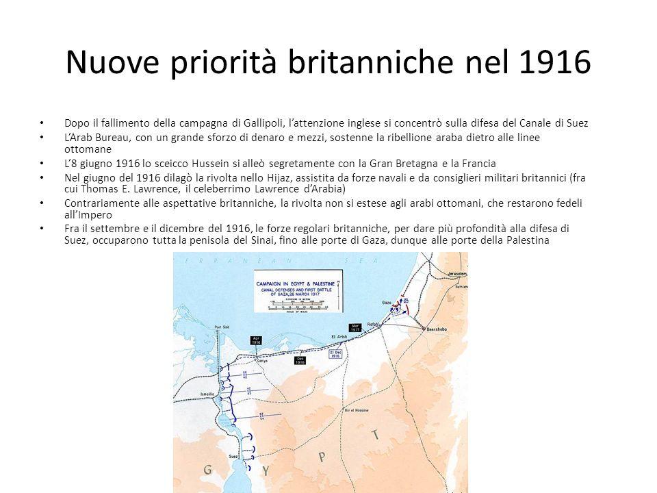 Nuove priorità britanniche nel 1916 Dopo il fallimento della campagna di Gallipoli, lattenzione inglese si concentrò sulla difesa del Canale di Suez LArab Bureau, con un grande sforzo di denaro e mezzi, sostenne la ribellione araba dietro alle linee ottomane L8 giugno 1916 lo sceicco Hussein si alleò segretamente con la Gran Bretagna e la Francia Nel giugno del 1916 dilagò la rivolta nello Hijaz, assistita da forze navali e da consiglieri militari britannici (fra cui Thomas E.