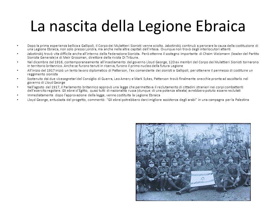 La nascita della Legione Ebraica Dopo la prima esperienza bellica a Gallipoli, il Corpo dei Mulattieri Sionisti venne sciolto.