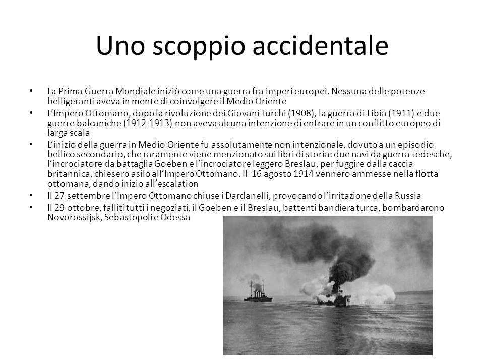 Uno scoppio accidentale La Prima Guerra Mondiale iniziò come una guerra fra imperi europei.