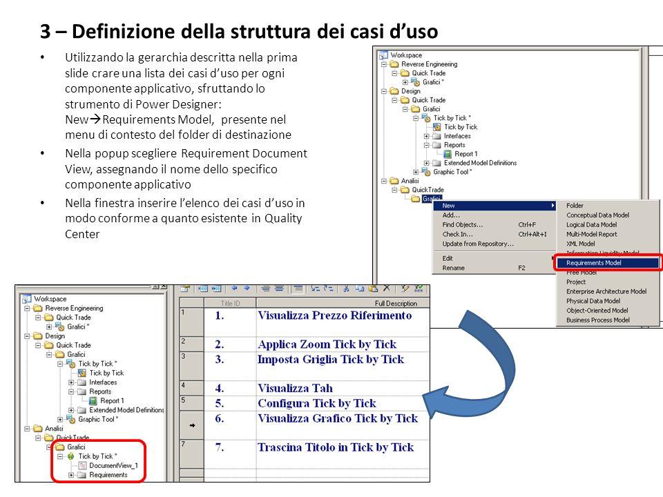 3 – Definizione della struttura dei casi duso Utilizzando la gerarchia descritta nella prima slide crare una lista dei casi duso per ogni componente a