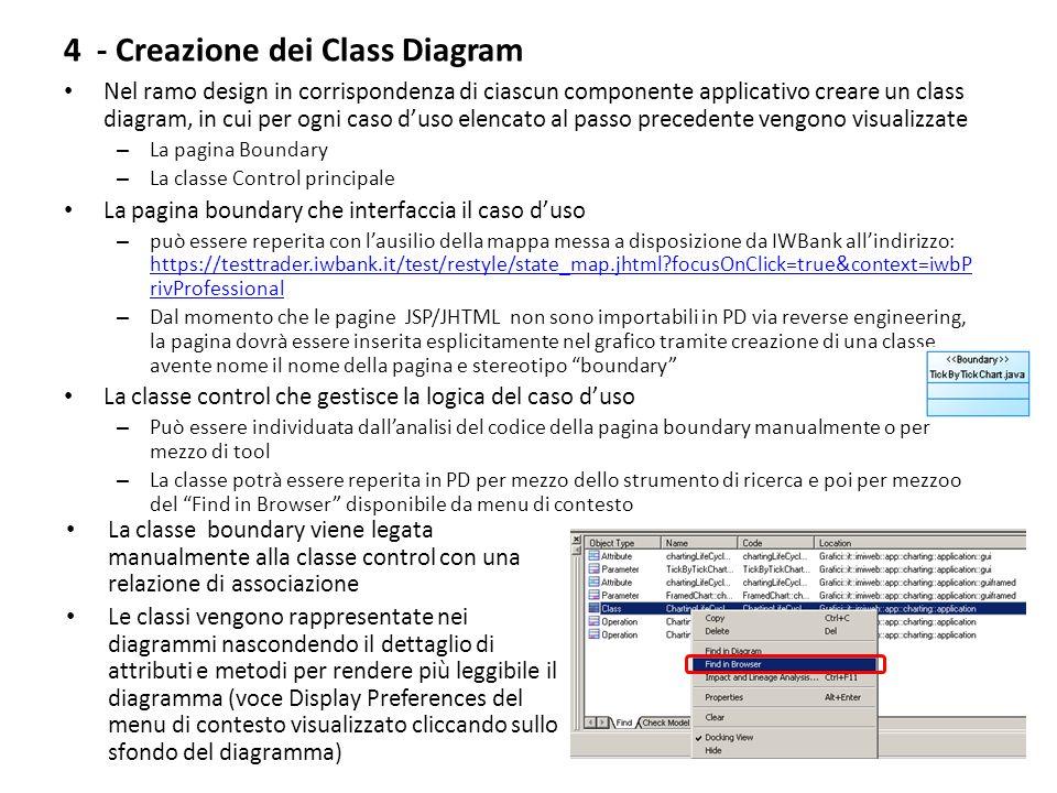4 - Creazione dei Class Diagram Nel ramo design in corrispondenza di ciascun componente applicativo creare un class diagram, in cui per ogni caso duso