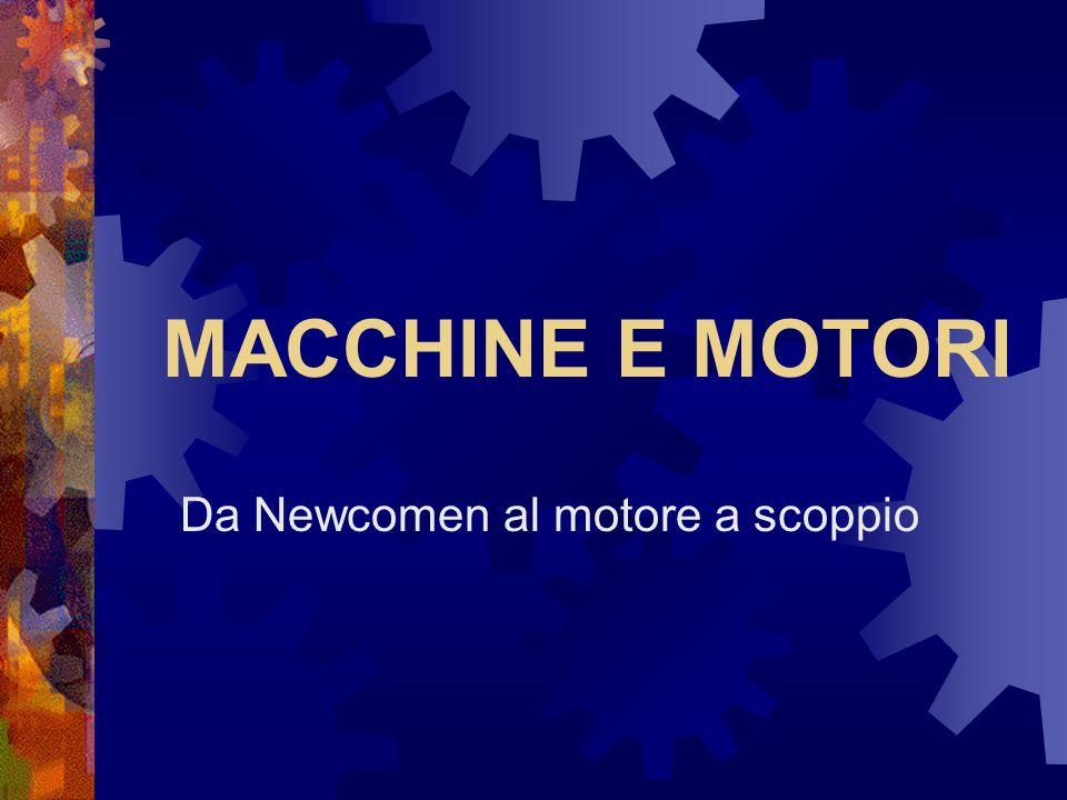 La macchina di Newcomen Thomas Newcomen aveva concepito l idea di far muovere un pistone in un cilindro per mezzo della pressione atmosferica, grazie al vuoto creato sotto di esso dalla condensazione del vapore.