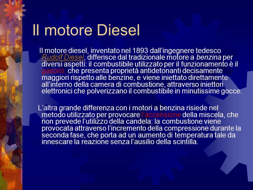 Il motore Diesel Il motore diesel, inventato nel 1893 dallingegnere tedesco Rudolf Diesel, differisce dal tradizionale motore a benzina per diversi as