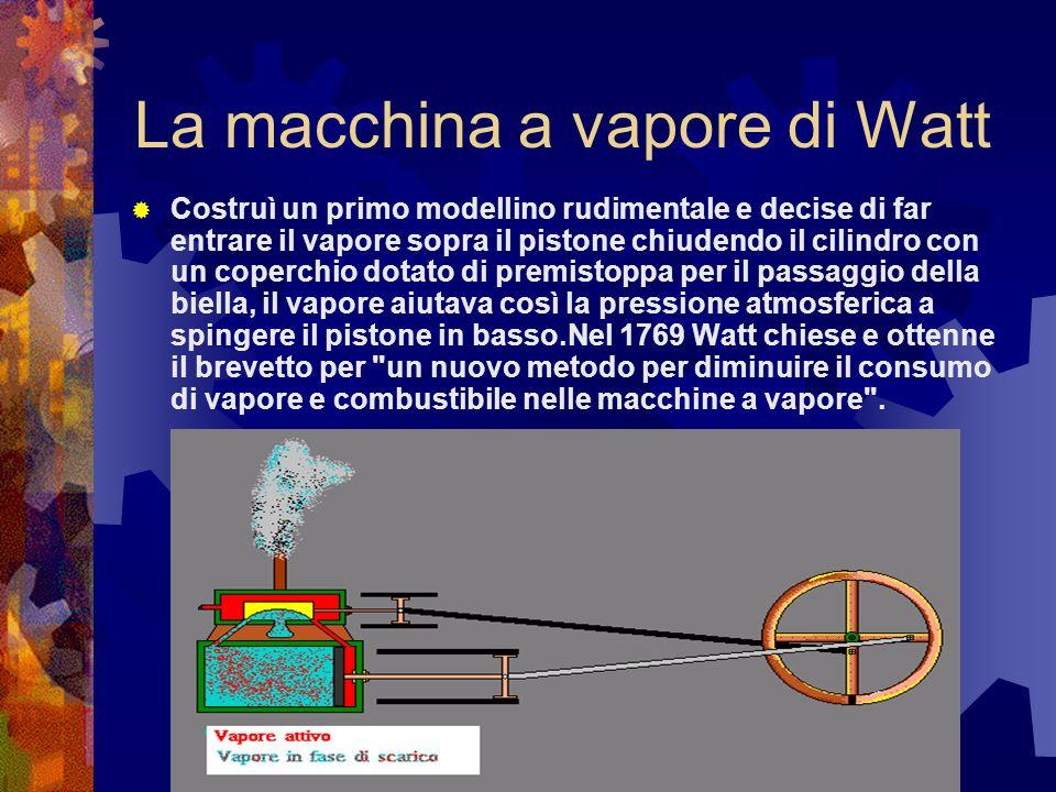 La macchina a vapore di Watt Costruì un primo modellino rudimentale e decise di far entrare il vapore sopra il pistone chiudendo il cilindro con un co