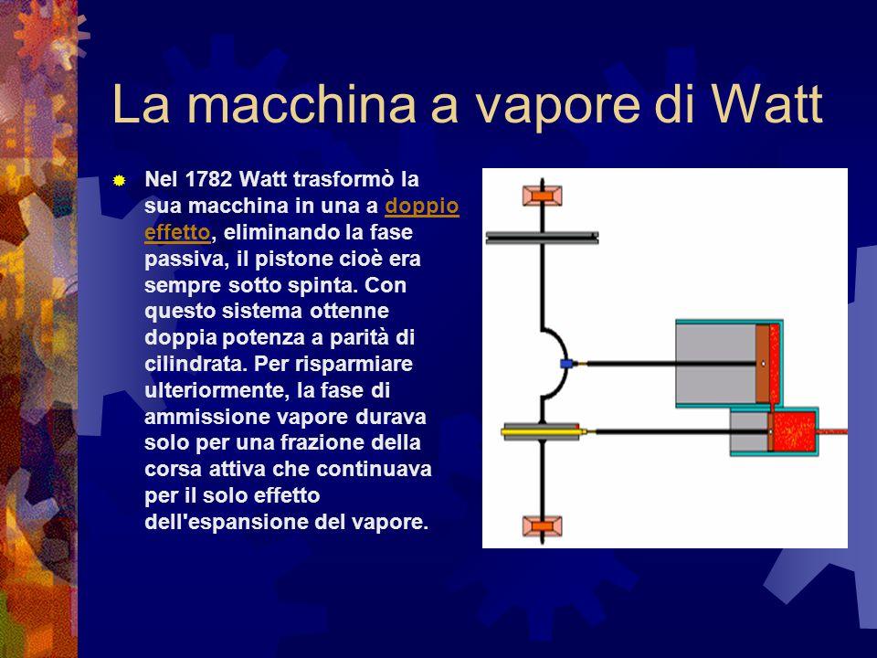 La macchina a vapore di Watt Nel 1782 Watt trasformò la sua macchina in una a doppio effetto, eliminando la fase passiva, il pistone cioè era sempre s