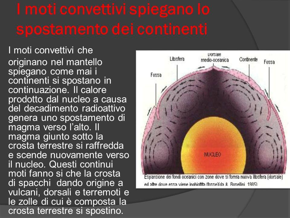 I moti convettivi spiegano lo spostamento dei continenti I moti convettivi che originano nel mantello spiegano come mai i continenti si spostano in continuazione.