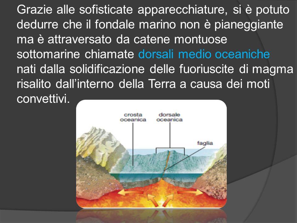 Grazie alle sofisticate apparecchiature, si è potuto dedurre che il fondale marino non è pianeggiante ma è attraversato da catene montuose sottomarine