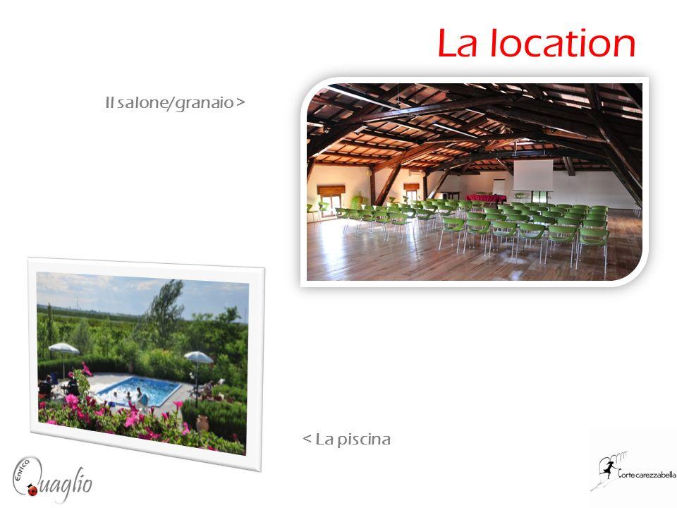 La location < La piscina Il salone/granaio >