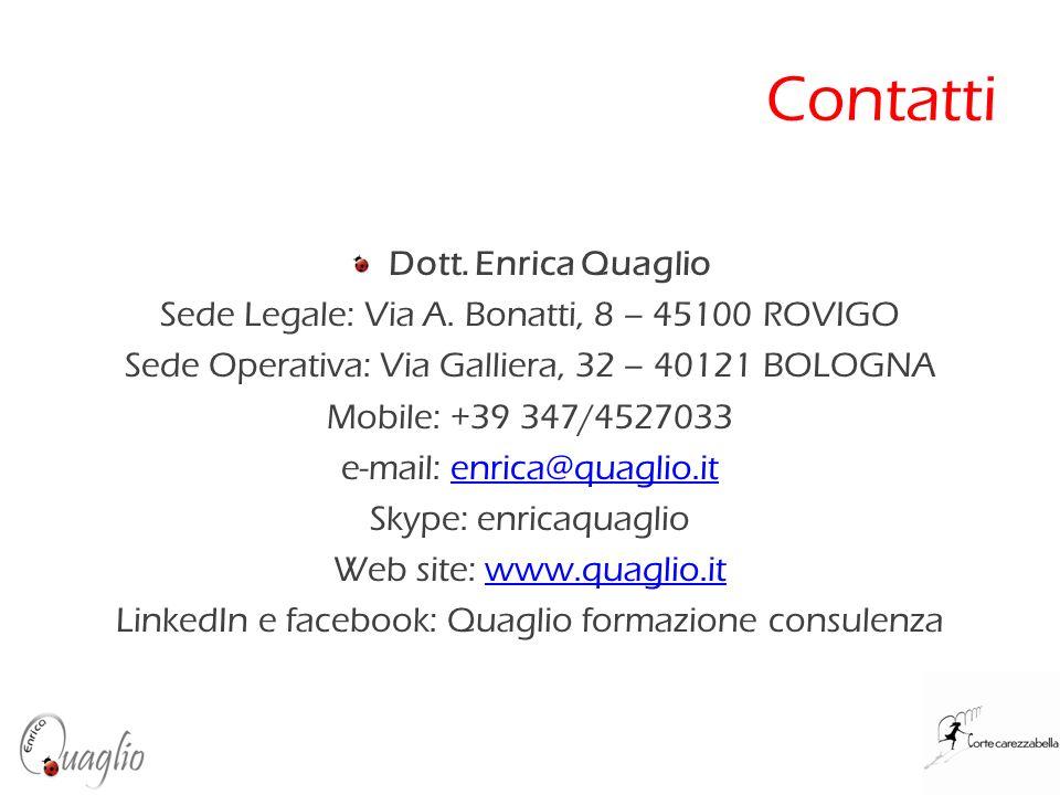 Contatti Dott. Enrica Quaglio Sede Legale: Via A. Bonatti, 8 – 45100 ROVIGO Sede Operativa: Via Galliera, 32 – 40121 BOLOGNA Mobile: +39 347/4527033 e