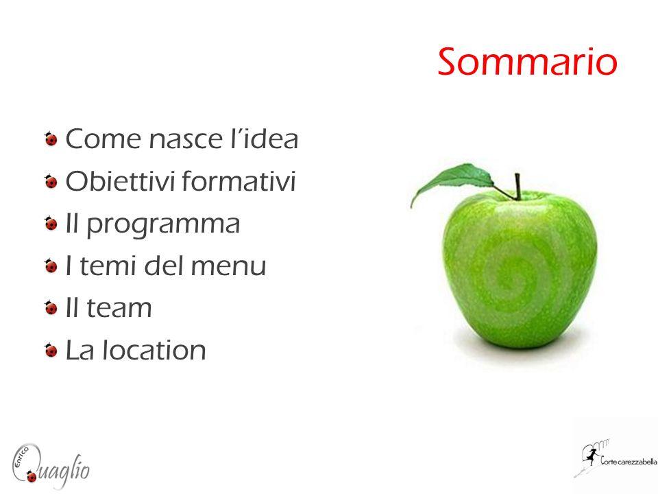 Sommario Come nasce lidea Obiettivi formativi Il programma I temi del menu Il team La location