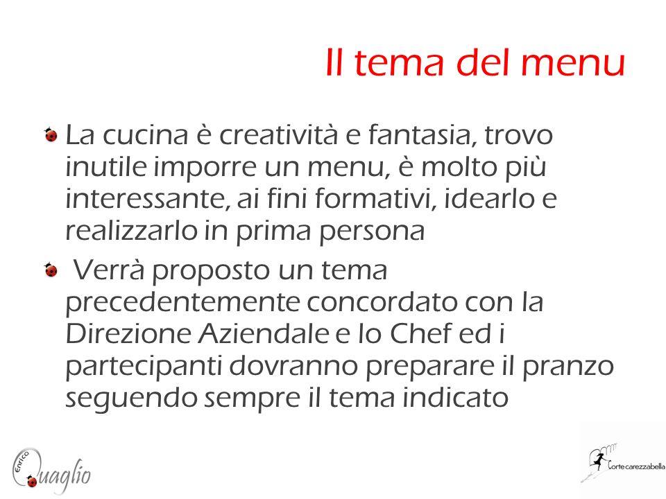 Il tema del menu La cucina è creatività e fantasia, trovo inutile imporre un menu, è molto più interessante, ai fini formativi, idearlo e realizzarlo