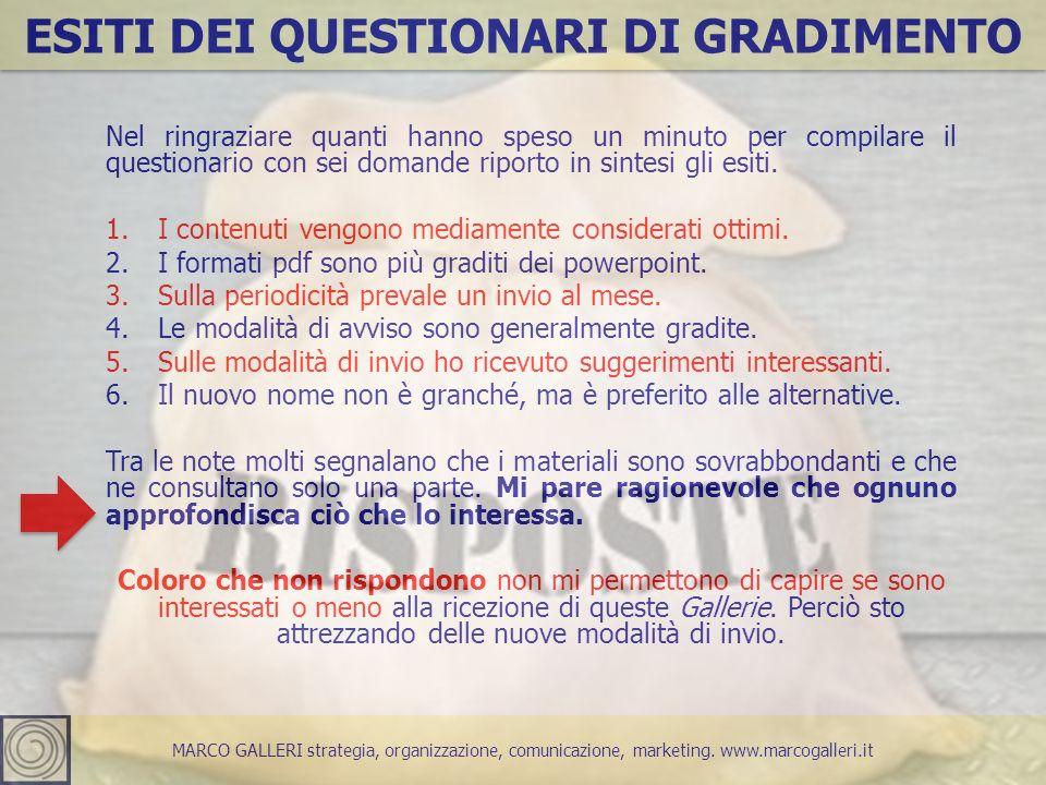 MARCO GALLERI strategia, organizzazione, comunicazione, marketing. www.marcogalleri.it ESITI DEI QUESTIONARI DI GRADIMENTO Nel ringraziare quanti hann