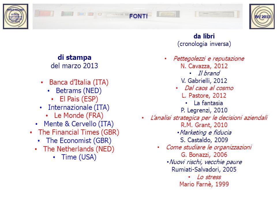 MARCO GALLERI strategia organizzazione comunicazione marketing MARCO GALLERI strategia organizzazione comunicazione marketing FONTI IV/2013 di stampa del marzo 2013 Banca dItalia (ITA) Betrams (NED) El Pais (ESP) Internazionale (ITA) Le Monde (FRA) Mente & Cervello (ITA) The Financial Times (GBR) The Economist (GBR) The Netherlands (NED) Time (USA) da libri (cronologia inversa) Pettegolezzi e reputazione N.