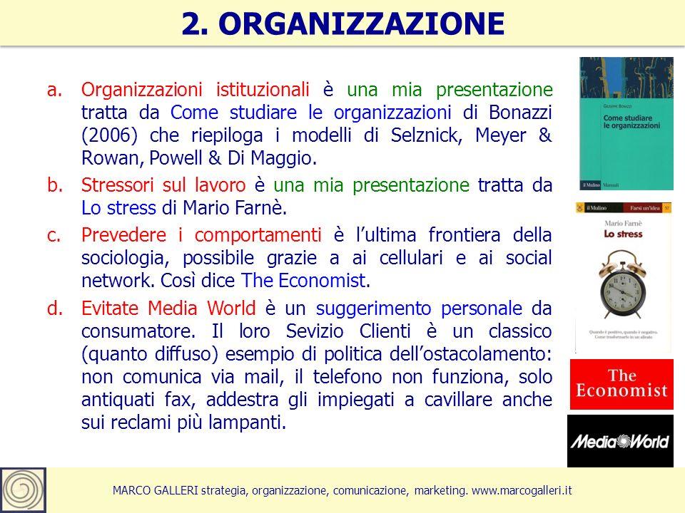 MARCO GALLERI strategia, organizzazione, comunicazione, marketing. www.marcogalleri.it a.Organizzazioni istituzionali è una mia presentazione tratta d