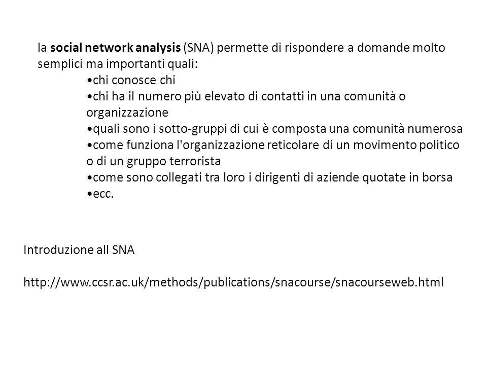 introdurre reti rappresentare graficamente le reti Statistica di base come si misura la coesione