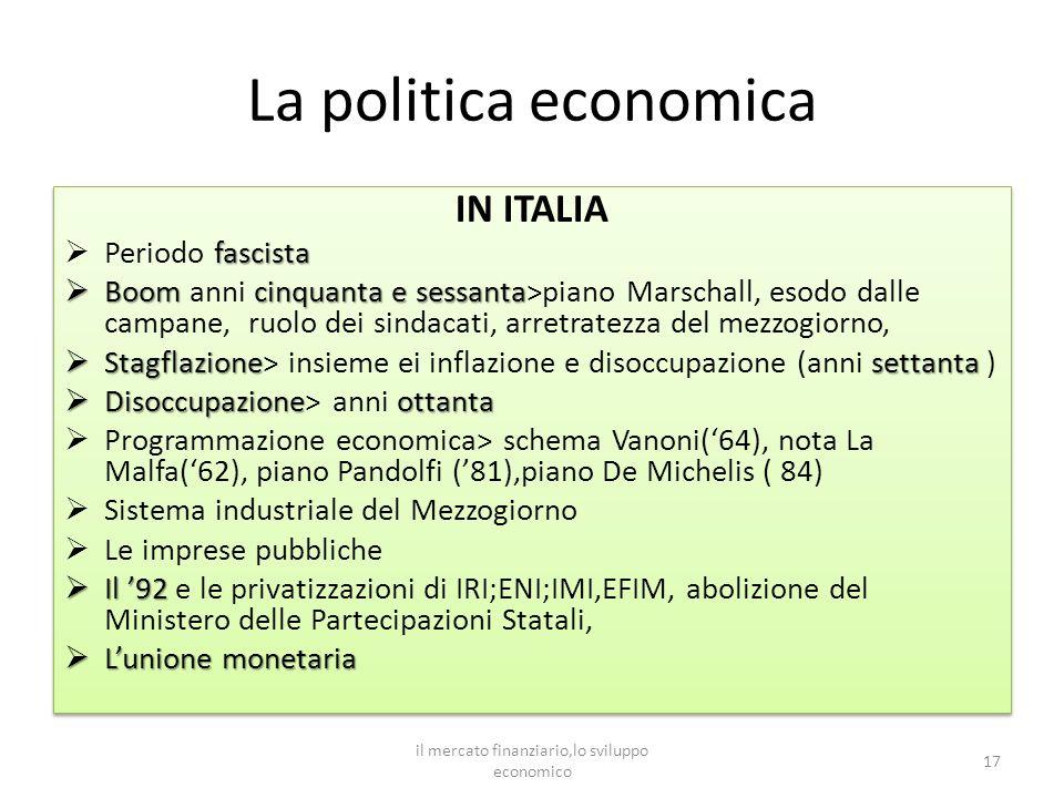 La politica economica IN ITALIA fascista Periodo fascista Boomcinquanta e sessanta Boom anni cinquanta e sessanta>piano Marschall, esodo dalle campane