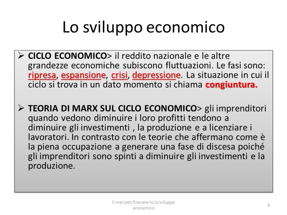 Lo sviluppo economico ripresaespansionecrisidepressione congiuntura.