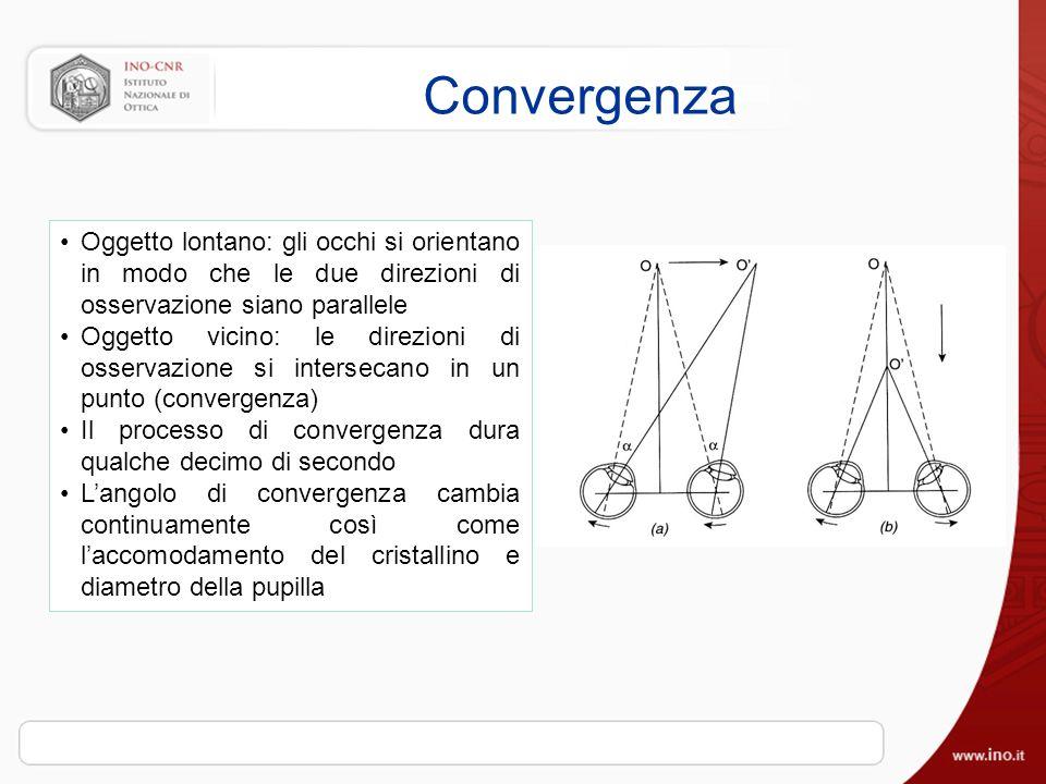 Convergenza Oggetto lontano: gli occhi si orientano in modo che le due direzioni di osservazione siano parallele Oggetto vicino: le direzioni di osservazione si intersecano in un punto (convergenza) Il processo di convergenza dura qualche decimo di secondo Langolo di convergenza cambia continuamente così come laccomodamento del cristallino e diametro della pupilla