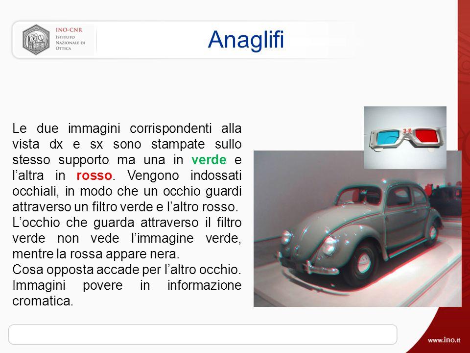 Anaglifi Le due immagini corrispondenti alla vista dx e sx sono stampate sullo stesso supporto ma una in verde e laltra in rosso.
