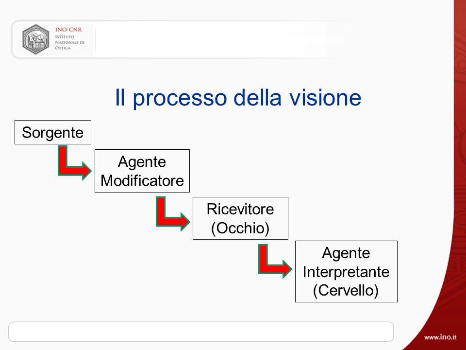 Il processo della visione Sorgente Agente Modificatore Ricevitore (Occhio) Agente Interpretante (Cervello)