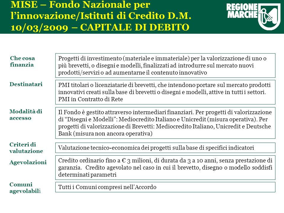 MISE – Fondo Nazionale per linnovazione/Istituti di Credito D.M.