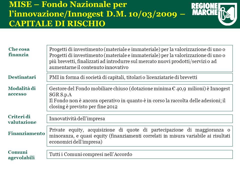 MISE – Fondo Nazionale per linnovazione/Innogest D.M.