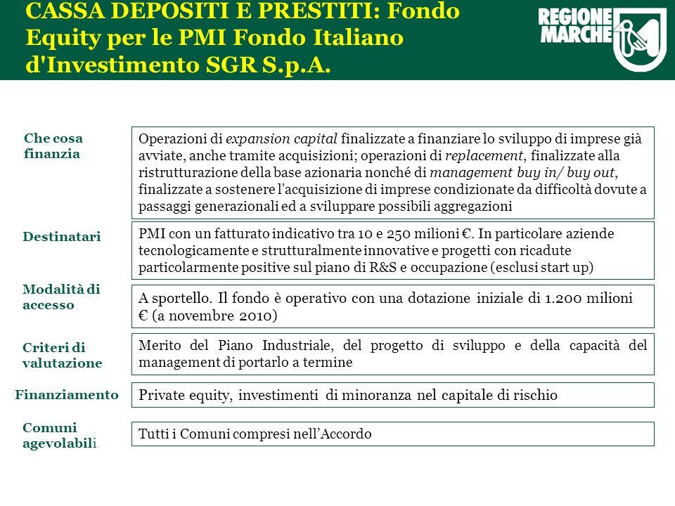 CASSA DEPOSITI E PRESTITI: Fondo Equity per le PMI Fondo Italiano d Investimento SGR S.p.A.