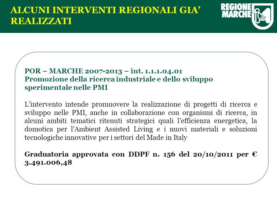 ALCUNI INTERVENTI REGIONALI GIA REALIZZATI POR – MARCHE 2007-2013 – int.