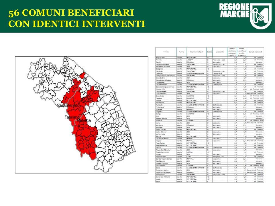 56 COMUNI BENEFICIARI CON IDENTICI INTERVENTI