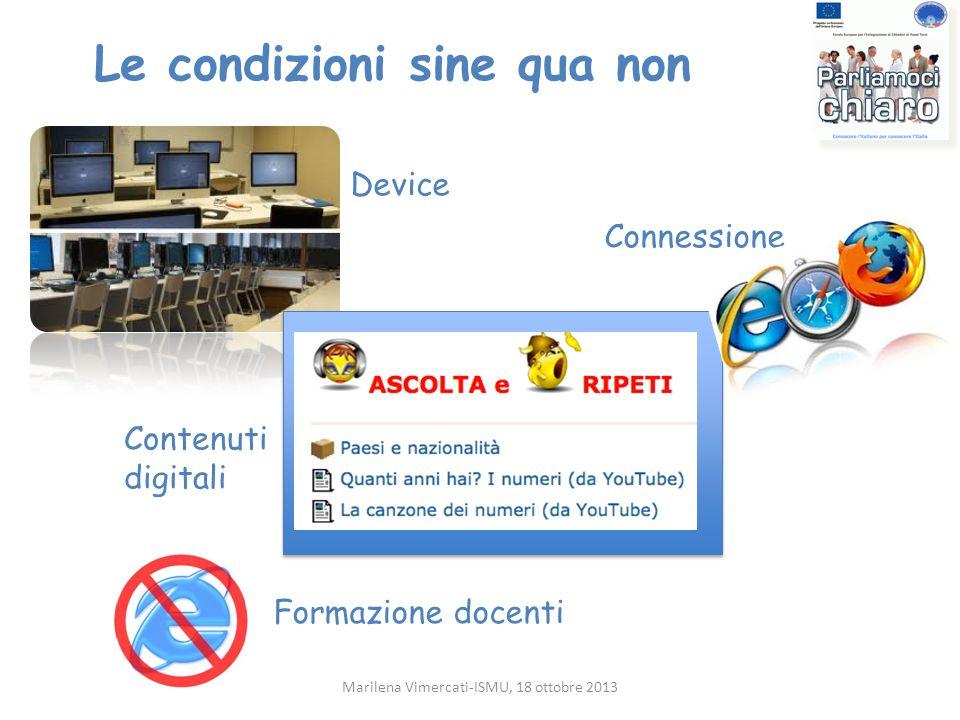 Le condizioni sine qua non Marilena Vimercati-ISMU, 18 ottobre 2013 Device Connessione Contenuti digitali Formazione docenti