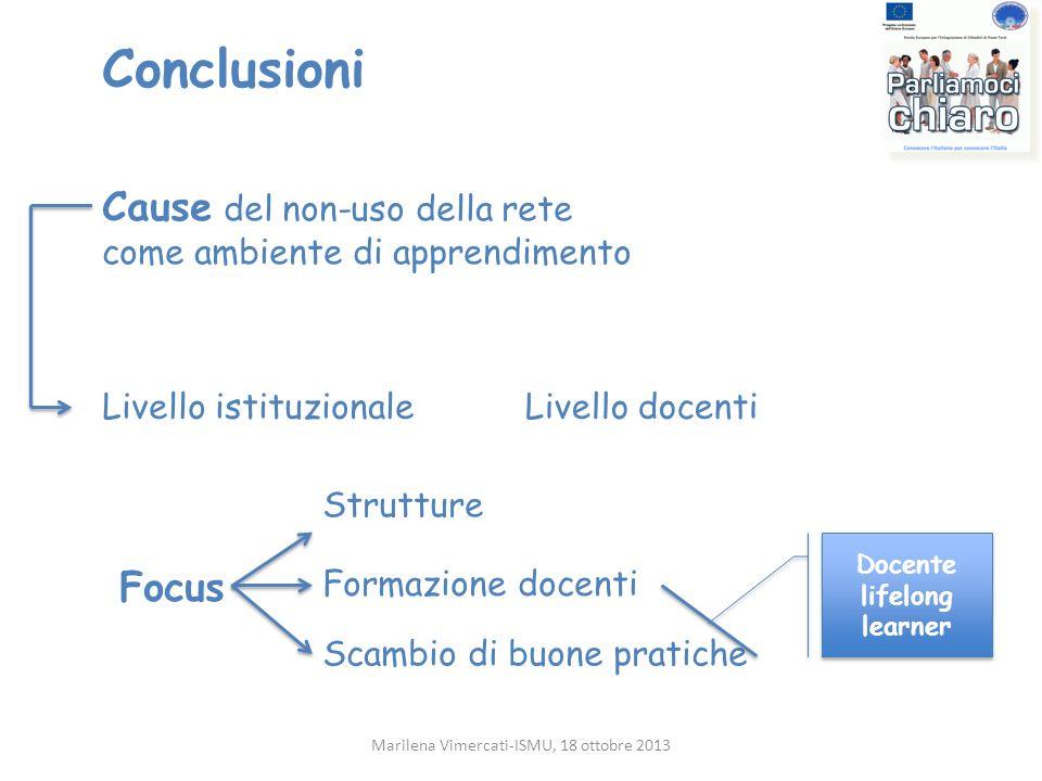 Conclusioni Marilena Vimercati-ISMU, 18 ottobre 2013 Cause del non-uso della rete come ambiente di apprendimento Livello istituzionaleLivello docenti