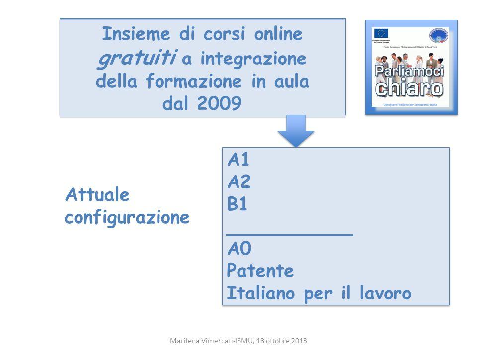 Insieme di corsi online gratuiti a integrazione della formazione in aula dal 2009 Marilena Vimercati-ISMU, 18 ottobre 2013 A1 A2 B1 ___________ A0 Patente Italiano per il lavoro A1 A2 B1 ___________ A0 Patente Italiano per il lavoro