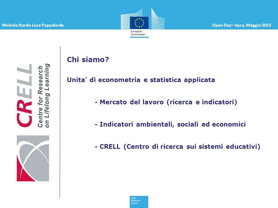 Michela Nardo Luca PappalardoOpen Day– Ispra, Maggio 2013 Chi siamo? Unita di econometria e statistica applicata - Mercato del lavoro (ricerca e indic