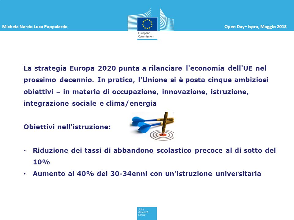 Michela Nardo Luca PappalardoOpen Day– Ispra, Maggio 2013 Abbandono scolastico precoce (IT 17.6%, FR 11.6%, DE 10.5%) 30-34enni con istruzione Universitaria (IT 21.7%, FR 43.6%, DE 31.9%)