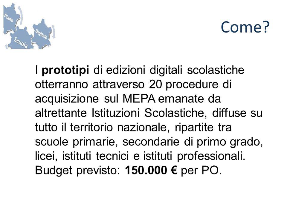 I prototipi di edizioni digitali scolastiche otterranno attraverso 20 procedure di acquisizione sul MEPA emanate da altrettante Istituzioni Scolastich