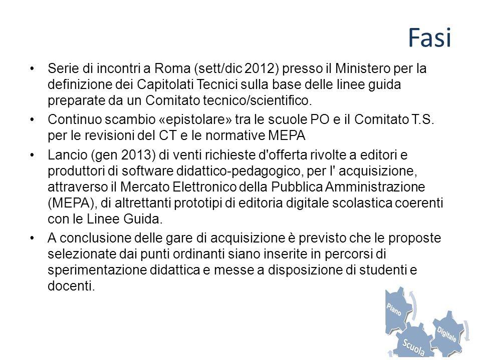 Fasi Serie di incontri a Roma (sett/dic 2012) presso il Ministero per la definizione dei Capitolati Tecnici sulla base delle linee guida preparate da