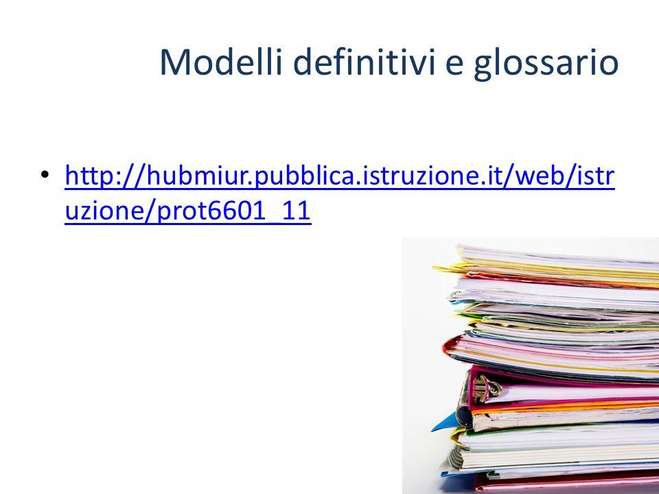 Modelli definitivi e glossario http://hubmiur.pubblica.istruzione.it/web/istr uzione/prot6601_11 http://hubmiur.pubblica.istruzione.it/web/istr uzione