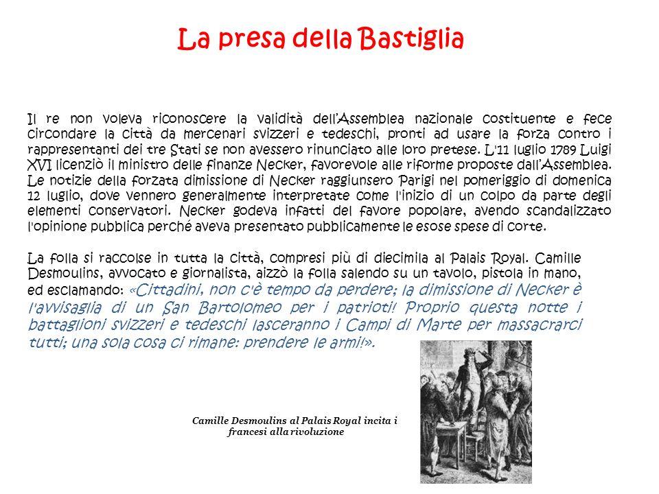 La presa della Bastiglia Il re non voleva riconoscere la validità dellAssemblea nazionale costituente e fece circondare la città da mercenari svizzeri