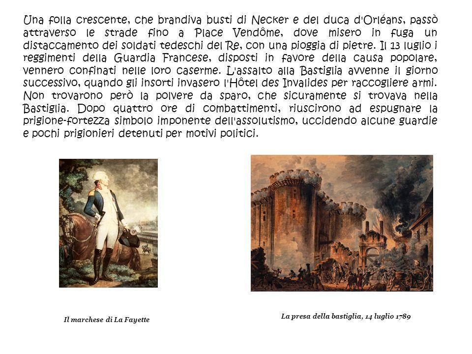 Una folla crescente, che brandiva busti di Necker e del duca d'Orléans, passò attraverso le strade fino a Place Vendôme, dove misero in fuga un distac