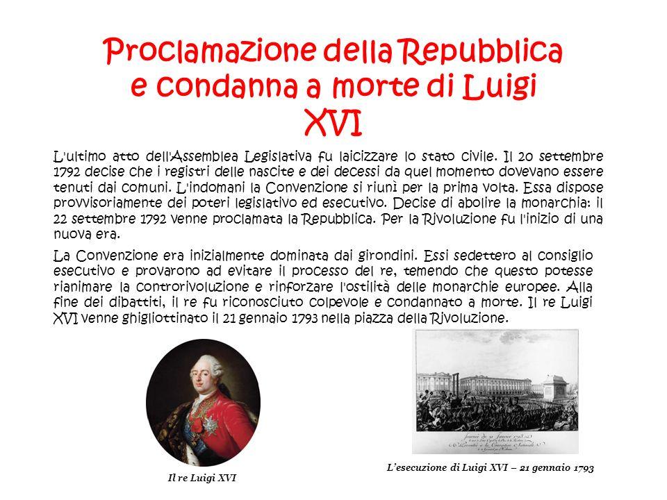 Proclamazione della Repubblica e condanna a morte di Luigi XVI L'ultimo atto dell'Assemblea Legislativa fu laicizzare lo stato civile. Il 20 settembre
