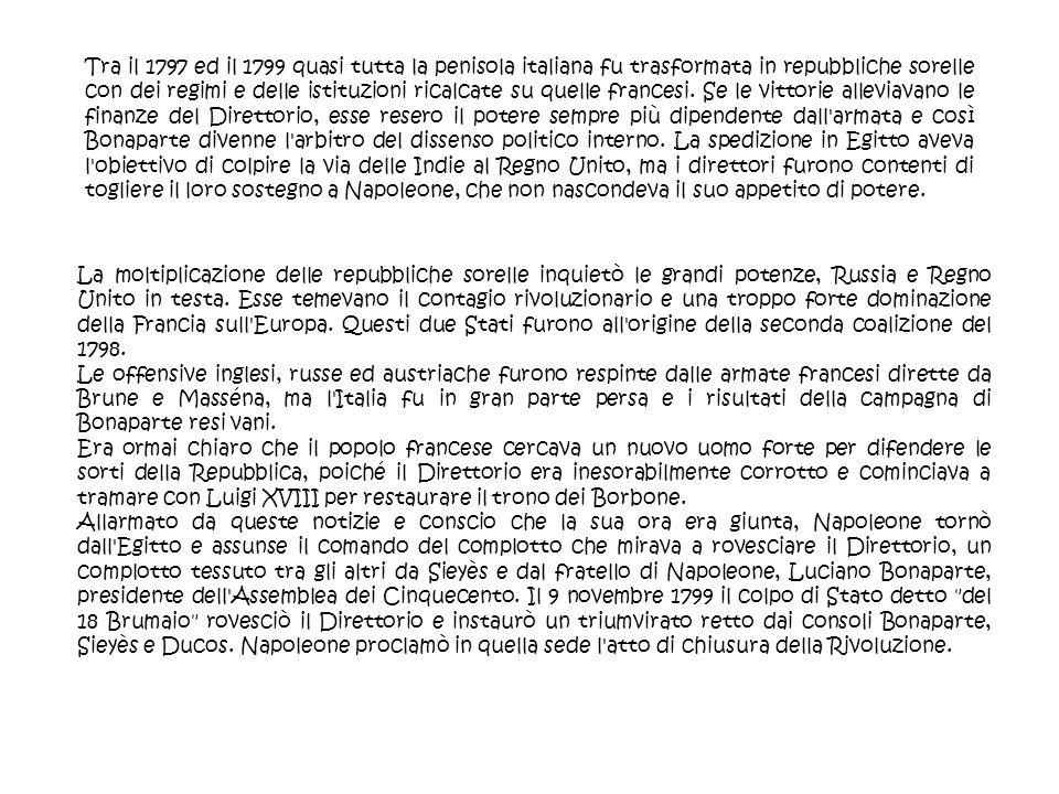 Tra il 1797 ed il 1799 quasi tutta la penisola italiana fu trasformata in repubbliche sorelle con dei regimi e delle istituzioni ricalcate su quelle f