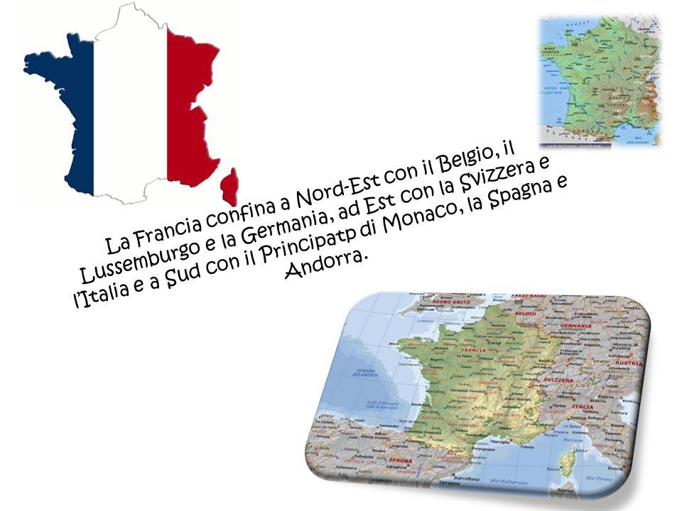 La Francia confina a Nord-Est con il Belgio, il Lussemburgo e la Germania, ad Est con la Svizzera e lItalia e a Sud con il Principatp di Monaco, la Sp