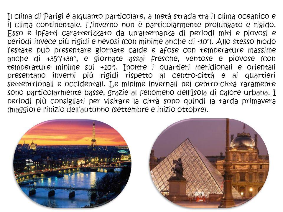 Il clima di Parigi è alquanto particolare, a metà strada tra il clima oceanico e il clima continentale. Linverno non è particolarmente prolungato e ri