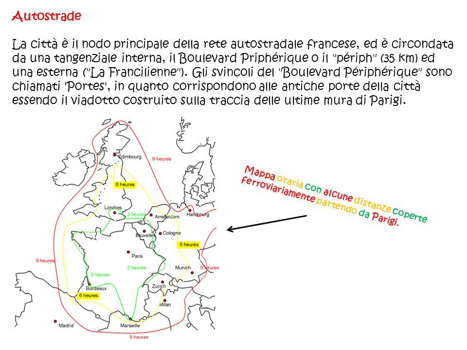 Autostrade La città è il nodo principale della rete autostradale francese, ed è circondata da una tangenziale interna, il Boulevard Priphérique o il
