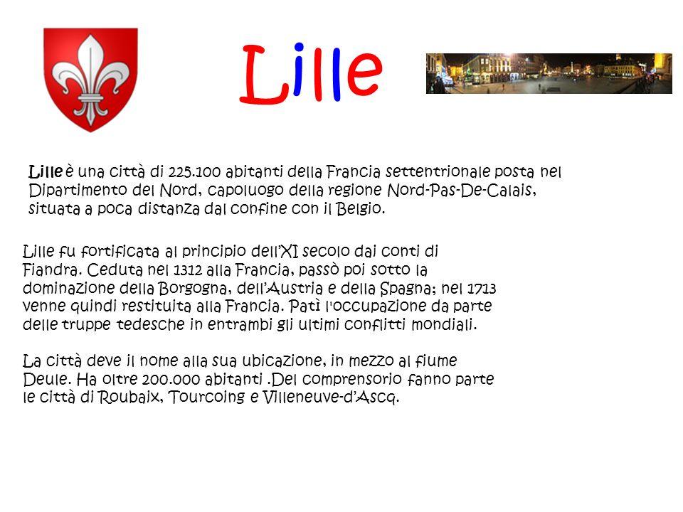 Lille Lille è una città di 225.100 abitanti della Francia settentrionale posta nel Dipartimento del Nord, capoluogo della regione Nord-Pas-De-Calais,