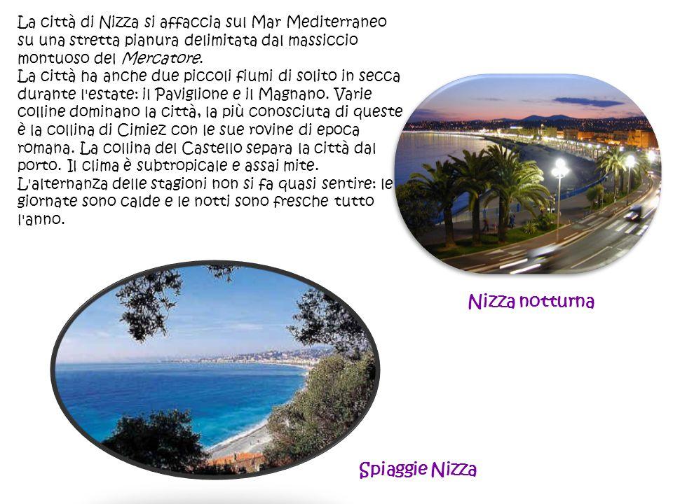 La città di Nizza si affaccia sul Mar Mediterraneo su una stretta pianura delimitata dal massiccio montuoso del Mercatore. La città ha anche due picco