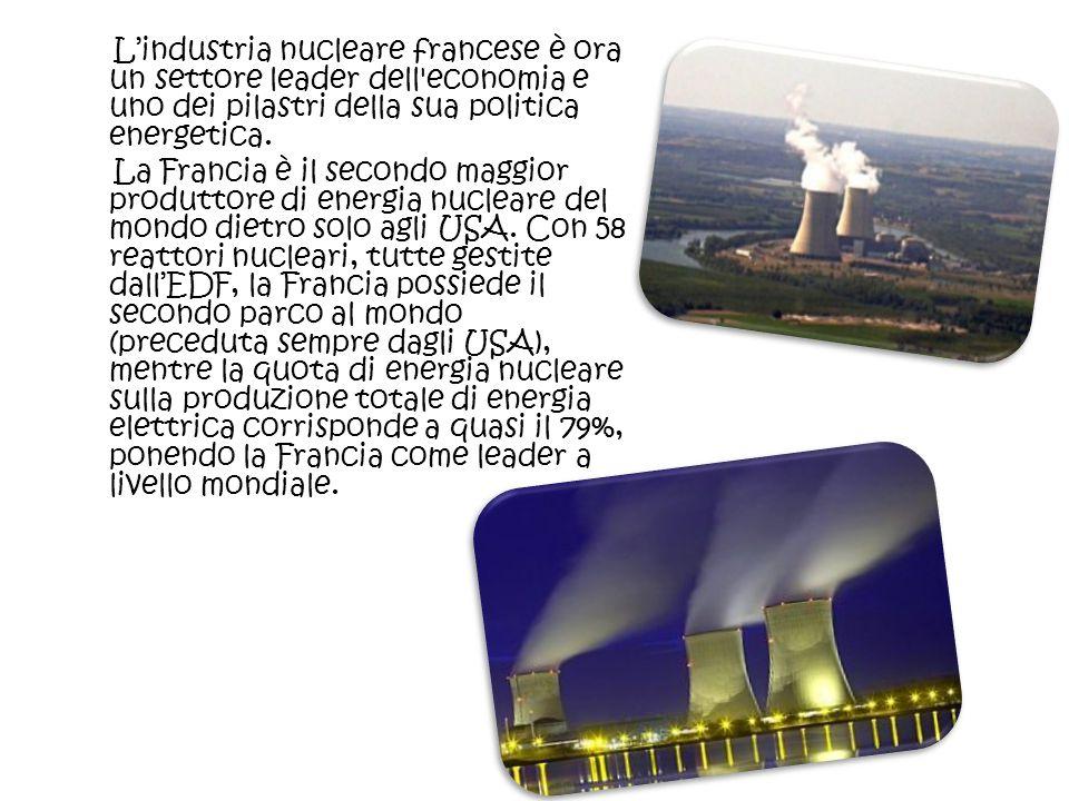 Lindustria nucleare francese è ora un settore leader dell'economia e uno dei pilastri della sua politica energetica. La Francia è il secondo maggior p