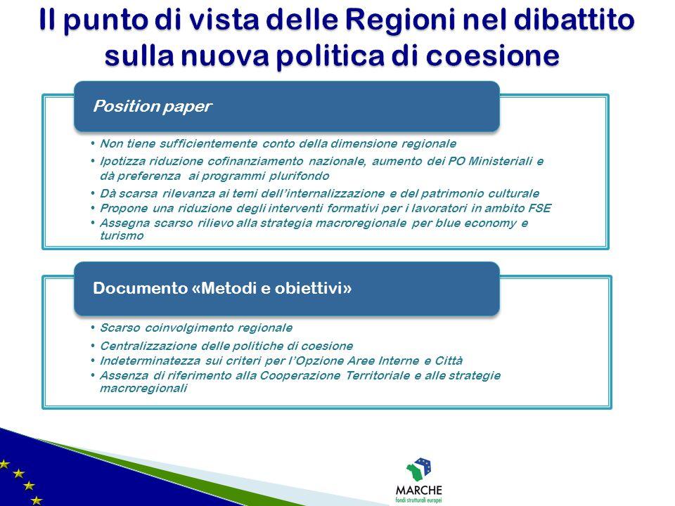 Non tiene sufficientemente conto della dimensione regionale Ipotizza riduzione cofinanziamento nazionale, aumento dei PO Ministeriali e dà preferenza