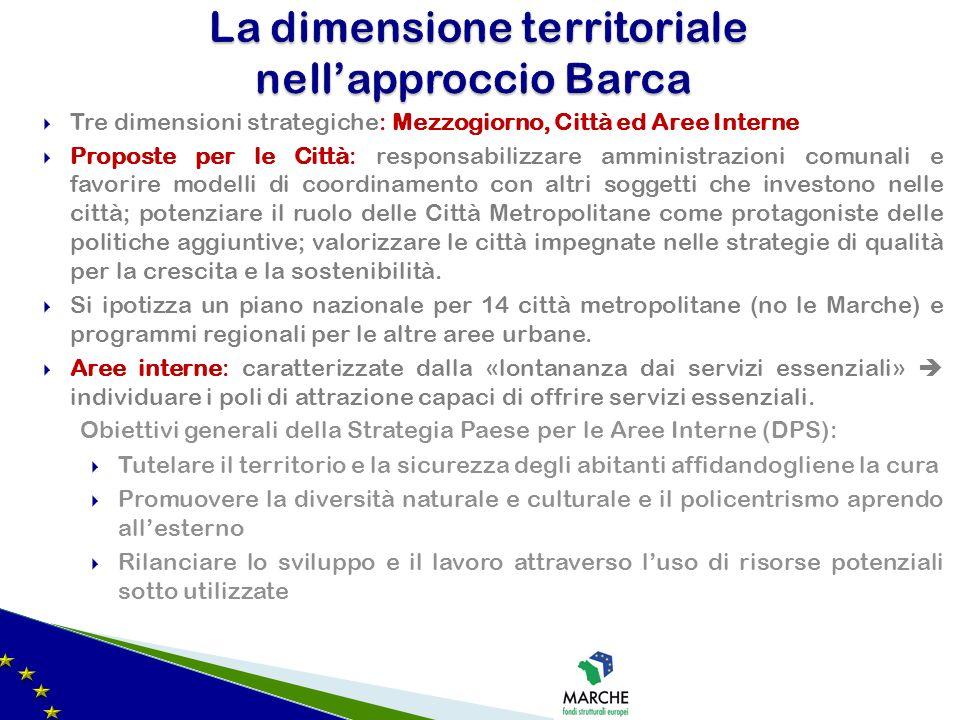 Tre dimensioni strategiche: Mezzogiorno, Città ed Aree Interne Proposte per le Città: responsabilizzare amministrazioni comunali e favorire modelli di
