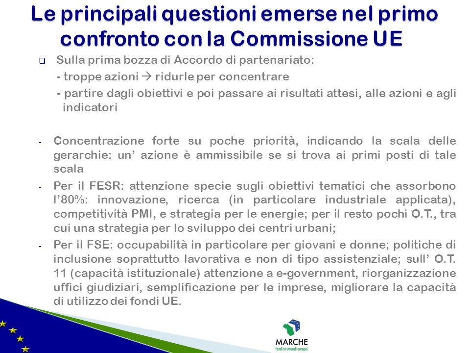 Sulla prima bozza di Accordo di partenariato: - troppe azioni ridurle per concentrare - partire dagli obiettivi e poi passare ai risultati attesi, all